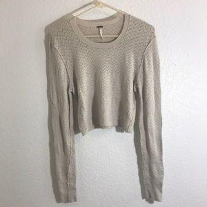 Free People cream crop light sweater.
